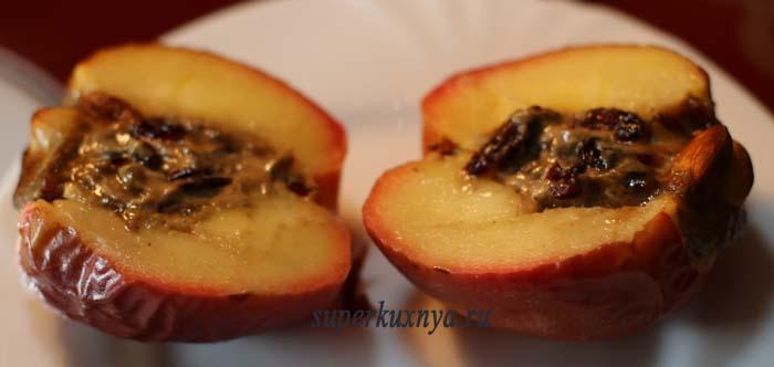 как запечь яблоки целиком - разрез
